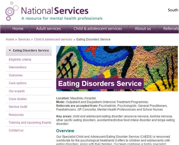SLAMS Maudsley child and adolescent eating disorder service